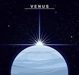 Image of the planet Venus. The second planet of the solar system. Science and education. Flat style. Cartoon.