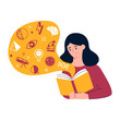 Girl is reading a book vector illustration, learning, education