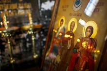 "Постер, картина, фотообои ""New Athos, Abkhazia Georgia Beautiful interior and dark painted frescoes of Novy Afon orthodox monastery, Abkhazia"""