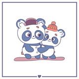 Happy pandas in love