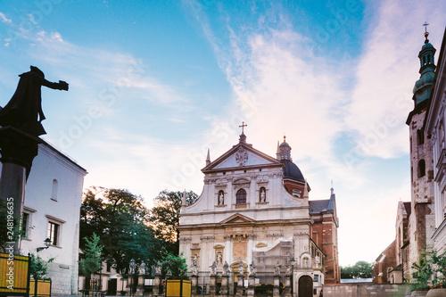 KRAKOW, POLAND - August 27, 2017: street view of downtown Krakow, Poland