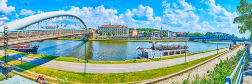 Panorama of Vistula river bank, Krakow, Poland