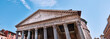 Rome, Pantheon, detail of the roof, blue sky and columns