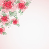 Background with delicate red roses
