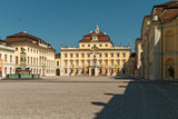 Ludwigsburg, Germany – palace courtyard with a decorative fountain. - 248207084