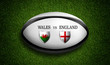 Rugby Match schedule, Wales vs England, flags of countries and rugby ball - 3D rendering