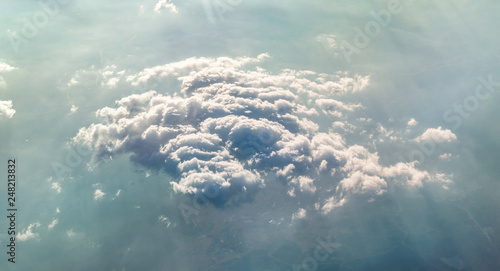 Beautiful clouds over ground. Aerial view. - 248213832