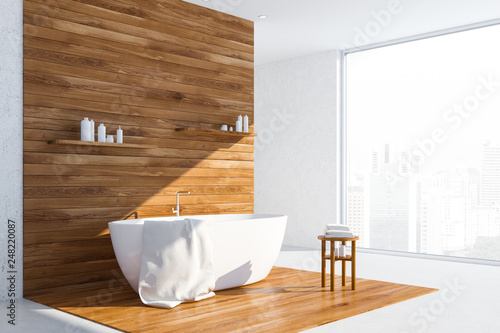 Leinwanddruck Bild White and wood loft bathroom corner