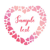 Delicate frame of pink gradient hearts. Vector valentines day background.