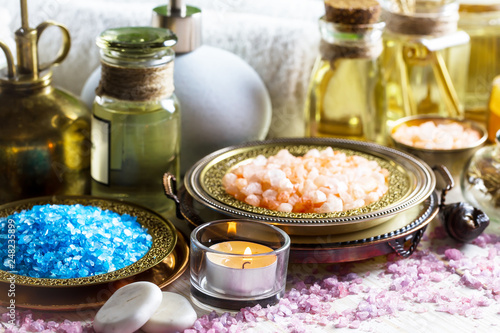 Items for spa massage in the composition on the table © vizafoto