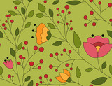 Seamless vector pattern with colorful flowers, leaves and branches. For decoration, wrapping paper or textile. - 248240621