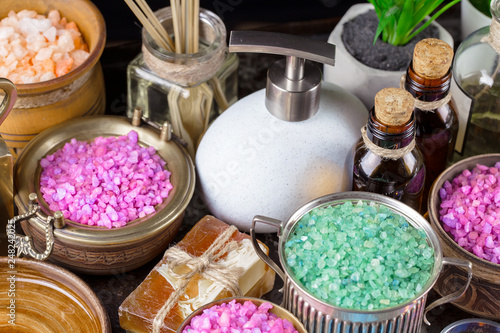 Items for spa massage in the composition on the table - 248242025