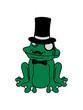frosch reich sir herr gentlemen zylinder hut monokel brille schnurrbart mann sizend süß niedlich lustig comic cartoon clipart froschkönig kröte