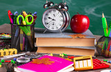 Back to school. School subjects for study, rotate on the table.