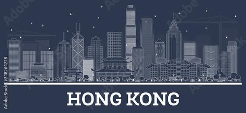 fototapeta na ścianę Outline Hong Kong China City Skyline with White Buildings.