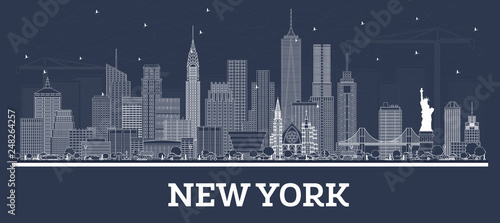 Outline New York USA City Skyline with White Buildings. - 248264257