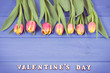 Fresh tulips for Valentines Day, copy space for text on boards. Vintage photo - 248267694
