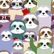 Hand drawn collection of funny sloth pattern vector design - 248273655