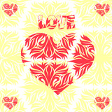 Abstract heart, decoration for Valentine's Day, on a light background,