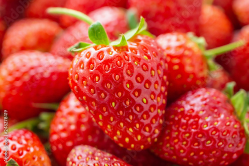 Fresh organic red ripe Strawberry fruit background closeup - 248278419