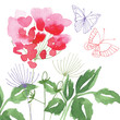 Hand Painted Wildflower floral pattern in the style of watercolor background. Spring flowers seasonal nature background. Illustration of wild flowers for greeting cards, texture, pattern wrap, holiday