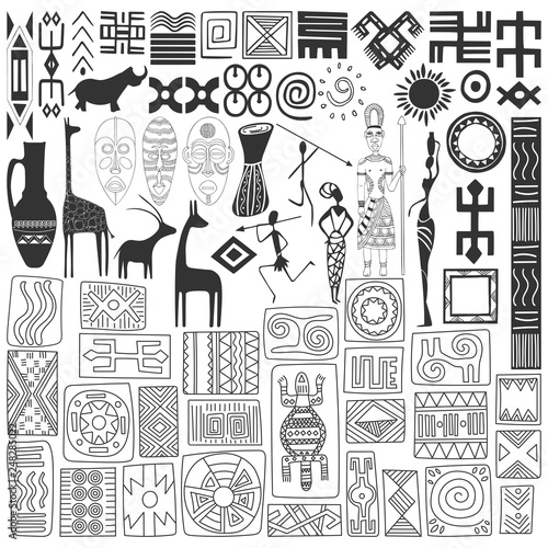 Hand-drawn symbols and ornaments of African style. Elements on white background for design. Vector.