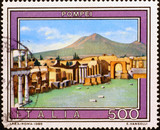 Ruins of Pompei on old italian stamp - 248286887
