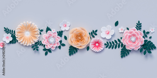Pastel spring background decorated with artificial paper flowers and leaves. 3d rendering
