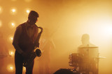 attractive musician enjoys playing the instrument atnight club, copy space, favourite job, profession