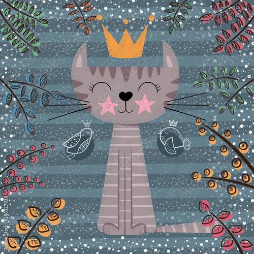 Cute princess cat cartoon illustration. © HandDraw