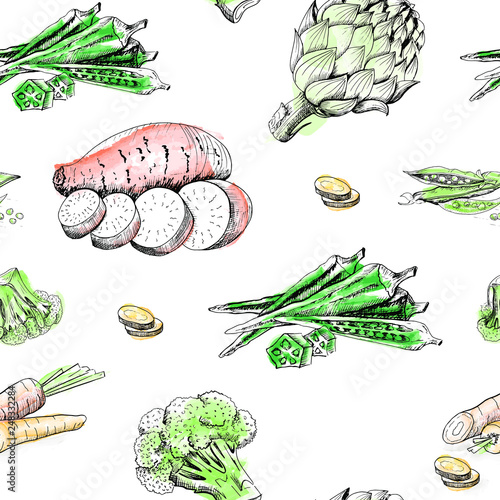 vegetable pattern, seamless vector pattern vegetables sketch, vegetable background, hand-drawn sketch of vegetables (carrot, okra, peas, yam, broccoli, artichoke) on white background © Татьяна Петрова
