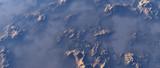 Aerial of rough rocky terrain in mist. - 248333221