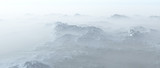 Aerial of rough steep snowy mountains in fog. - 248333235