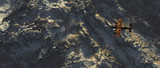 World war 2 fighter jet over snowy mountains. Aerial shot. - 248333245