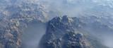 Aerial of rough bare terrain in mist. - 248333261