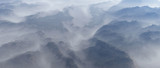 Aerial of mountain landscape with fir trees in mist. - 248333291