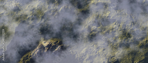 Clouds over green rock formations. Aerial shot. - 248333259
