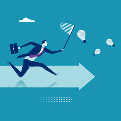 Chasing ideas. Business vector illustration.