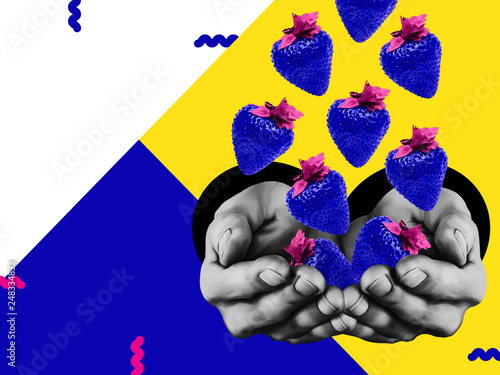 Conceptual art collage with copy space Abstract background in zine style Bright blue strawberries are falling into the hands of a man on three tone backdrop © Picture Store