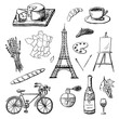 Set of hand drawn icons of French culture. Charcoal drawing of France map, champagne, Paris, etc. Black and white doodle vector illustration