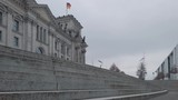 The Reichstag Building Behind Stairs In Berlin, Germany In Winter - 248355010
