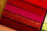 Multicolored samples of furniture fabric