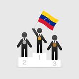 Champion with venezuela flag on winner podium