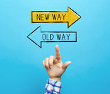 Old way or new way with hand on a blue background - 248361885