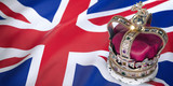 Royal golden crown with jewels on british  flag. Symbols of UK United Kingdom. - 248363433