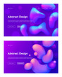 Purple Abstract Realistic Drop Shape Landing Page Background Set. Futuristic Digital 3d Gradient Pattern. Creative Neon Liquid Ink Backdrop for Website Web Page. Flat Cartoon Vector Illustration - 248369059