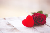 Red heart and rose St Valentine background