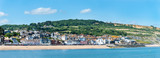 General view of the eastern part of Lyme Regis, Dorset as seen from the Cobb Harbour. - 248371823
