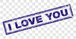 I LOVE YOU stamp seal print with rubber print style and double framed rectangle shape. Stamp is placed on a transparent background. Blue vector rubber print of I LOVE YOU title with retro texture.