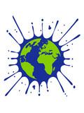 erde planet welt kugel heimat tropfen klecks farbe spritzer graffiti blut wachs clipart logo design - 248391246